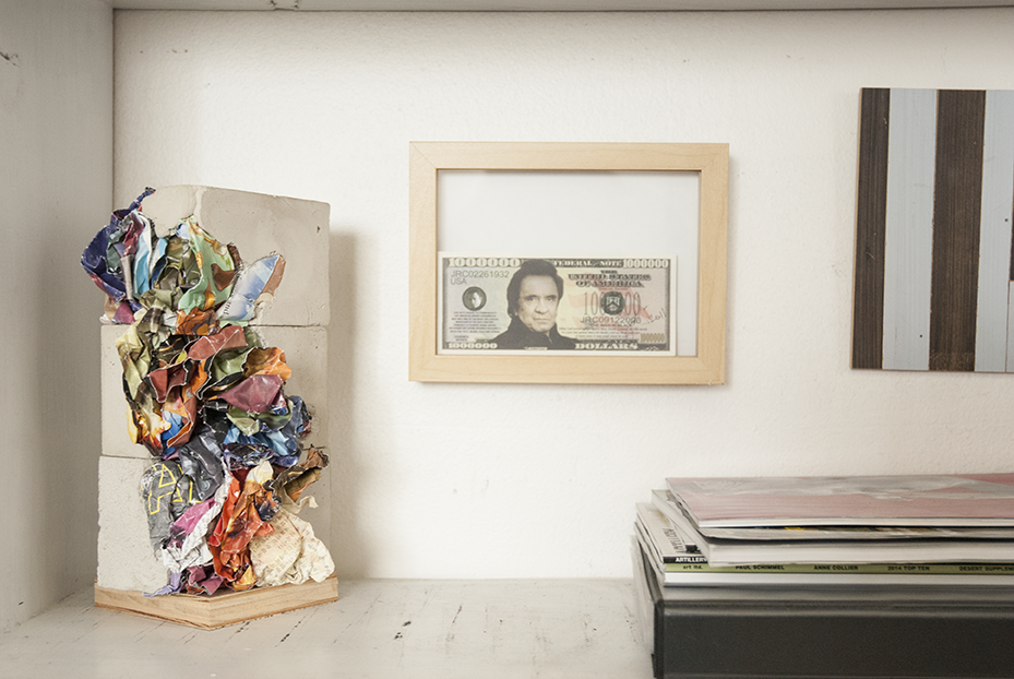 A small paper-crete #16 sculpture sits on one of Gratkowski's shelves in his office in Gardena, CA.  Photo © Aimee Santos