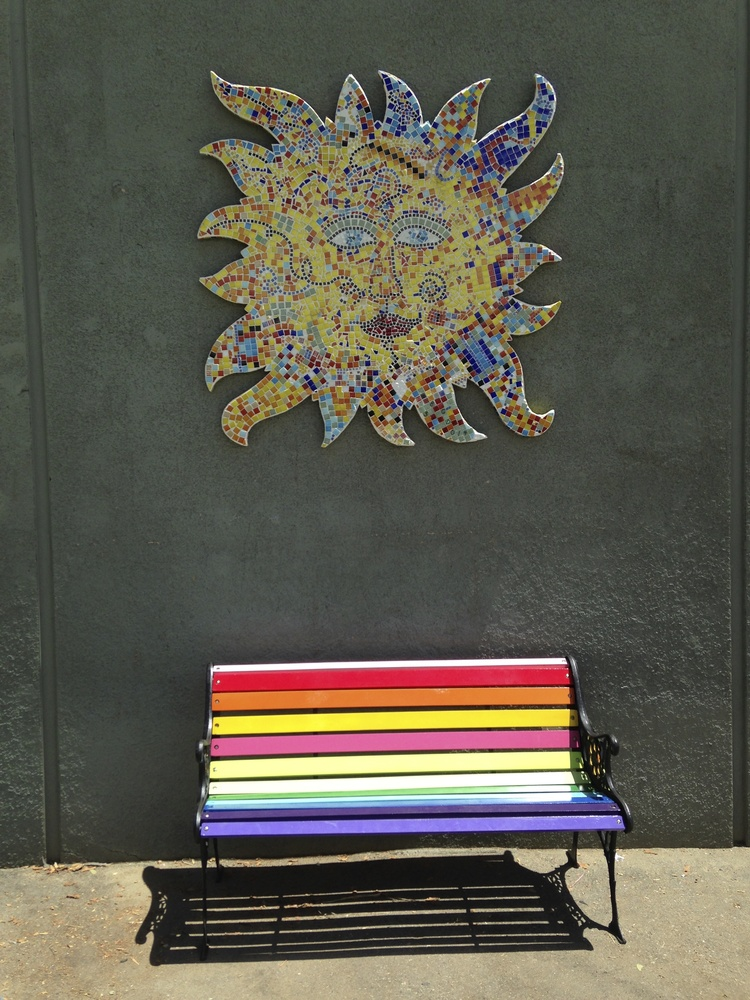 """As part of Big Sunday each year I create a big mosaic sun along with my husband and community and have it installed in a public place, another way I try to spread a little light."" said Cathy Weiss."