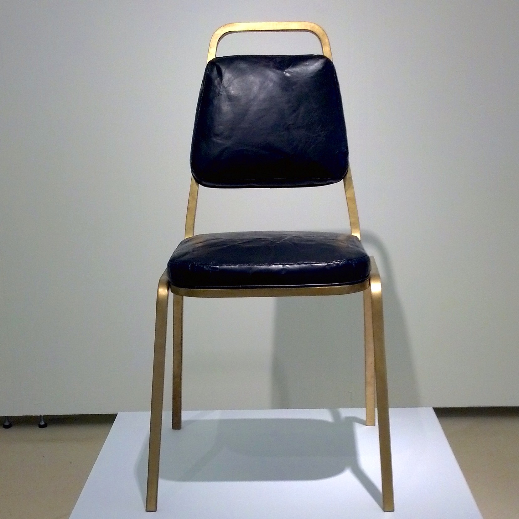Tomczyk's finished Banquet Chair on display at the Torrance Art Museum. Photo courtesy of the artist