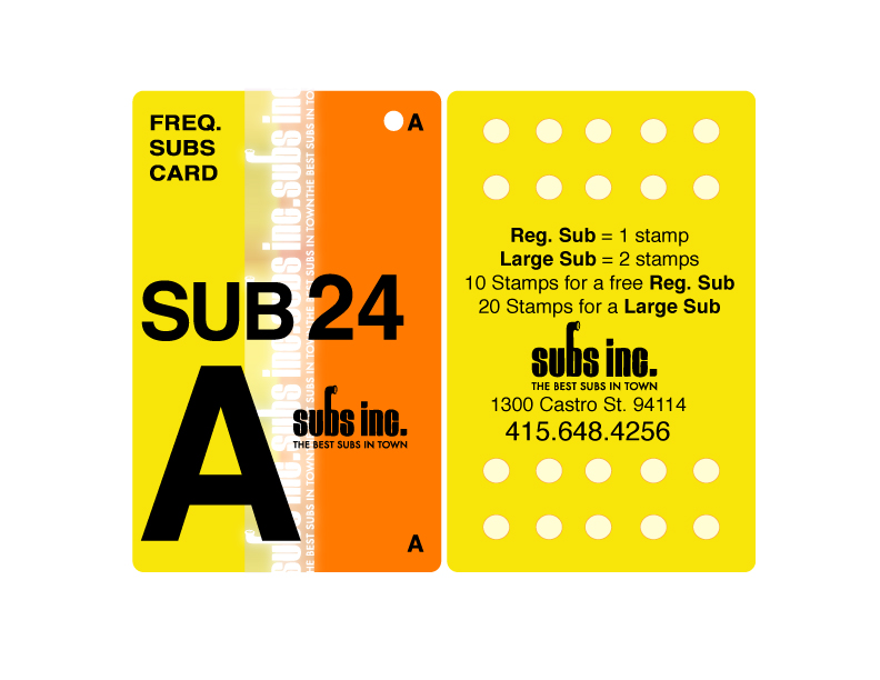 Subs inc. Loyalty Card