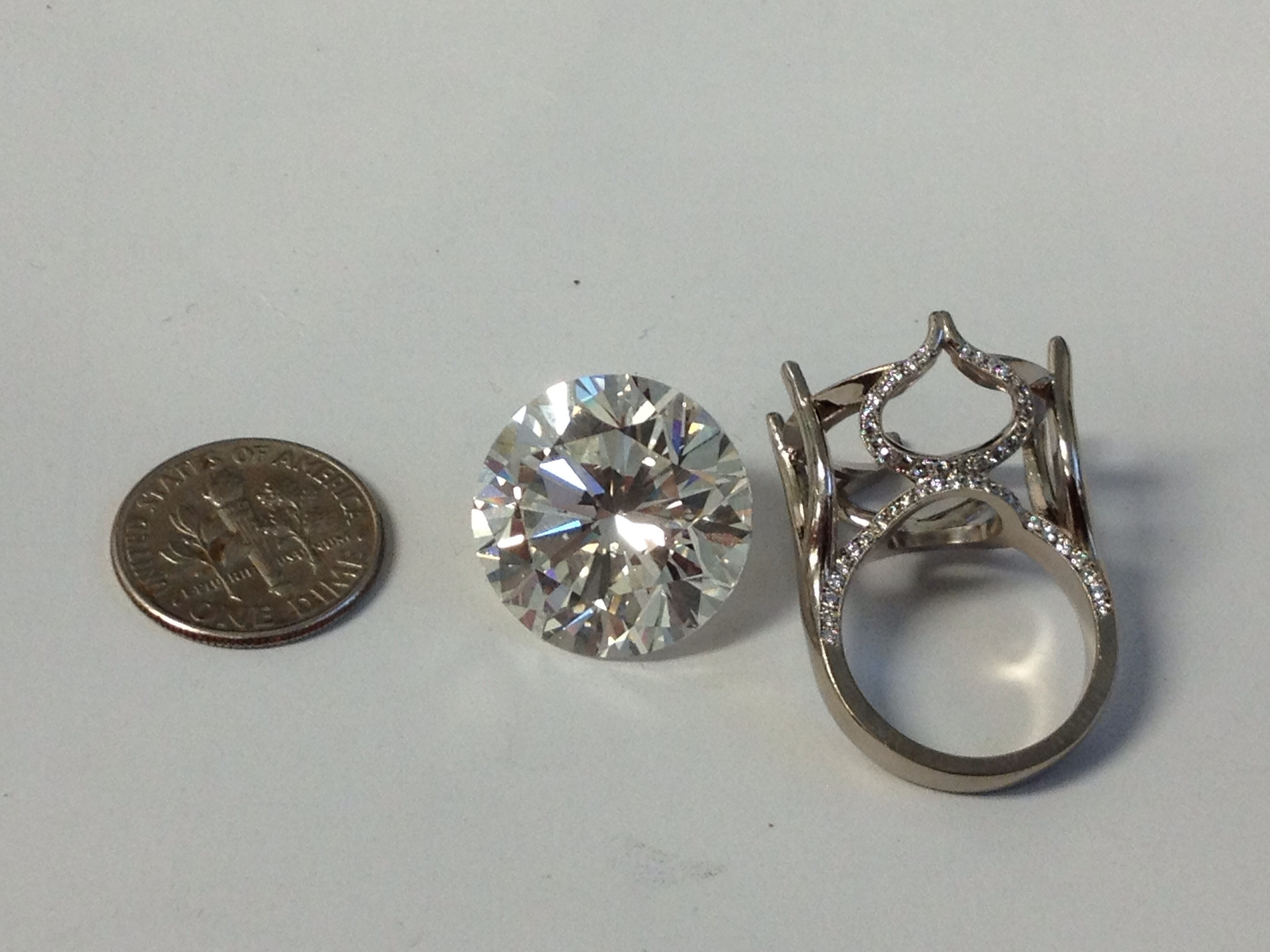Diamond and ring cast, ready for setting