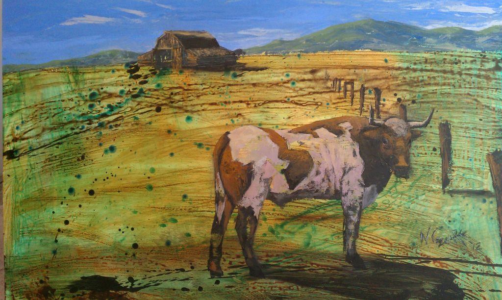 Down 'ear on the Farm - oil and acrylic on wood panel - SOLD