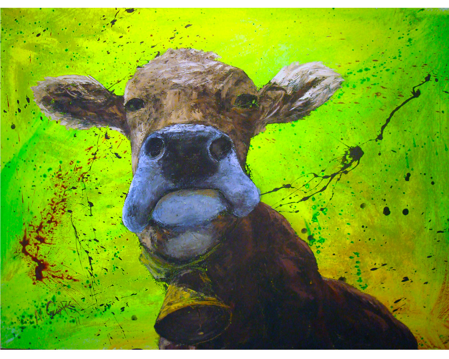 """'Ol Bessy - oil and acrylic on wood panel 36"""" x 48"""" w/o frame (SOLD)"""