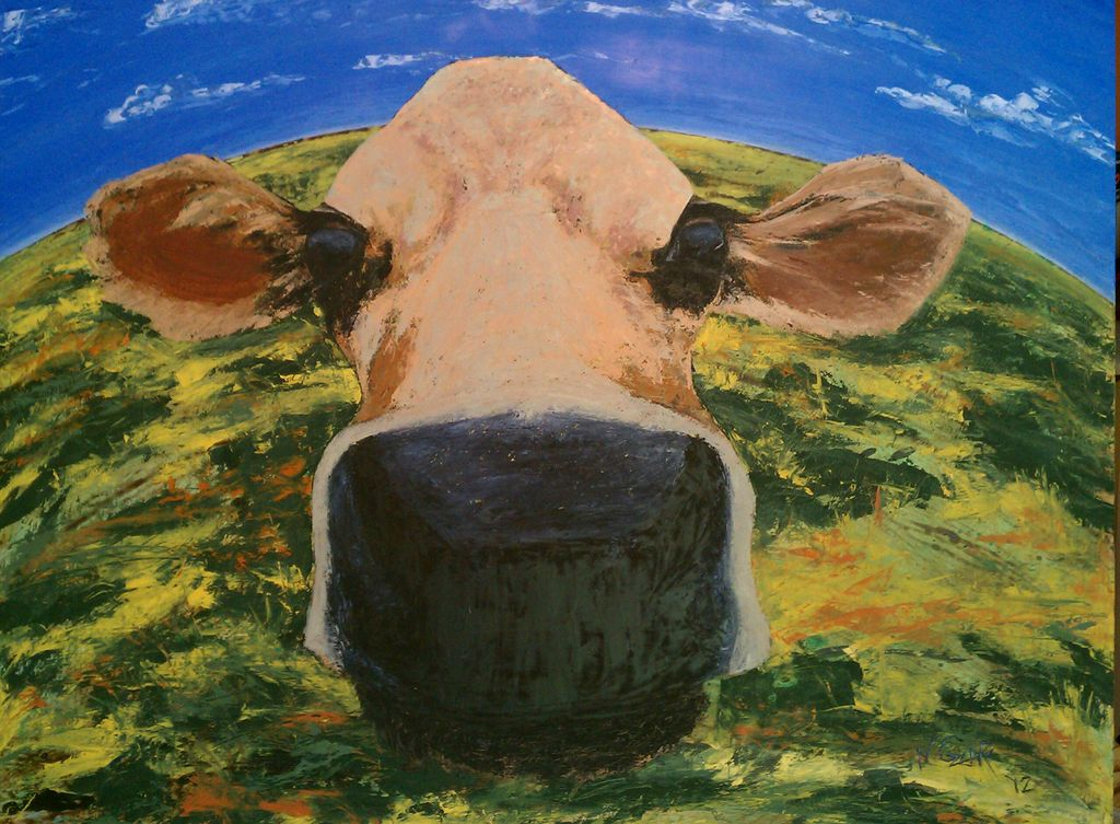 """Show Me Your Cow Face - oil and acrylic on wood panel 61 1/2"""" x 49 1/2"""" w/ frame"""