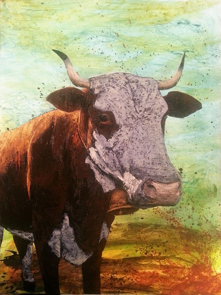 "Taurus - oil and acrylic on wood panel 50"" x 37"" w frame"
