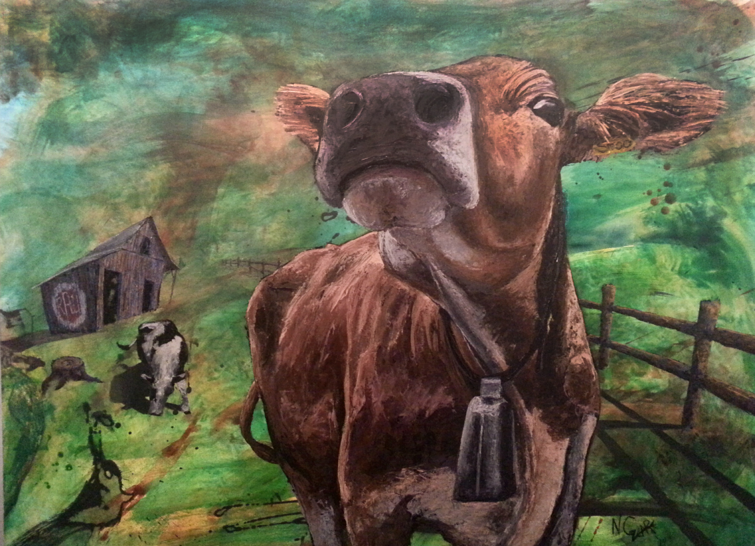 """""""Reynold's Family Farm"""" - Oil and acrylic on wood panel - 38"""" x 50"""" w frame SOLD"""