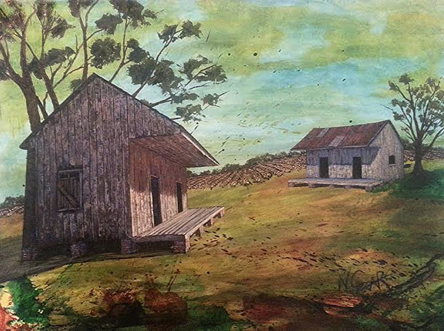 "Slave Barns ('Ol Miss) oil and acrylic on wood panel 50 1/2"" x 38 1/2"" w/ frame (SOLD)"