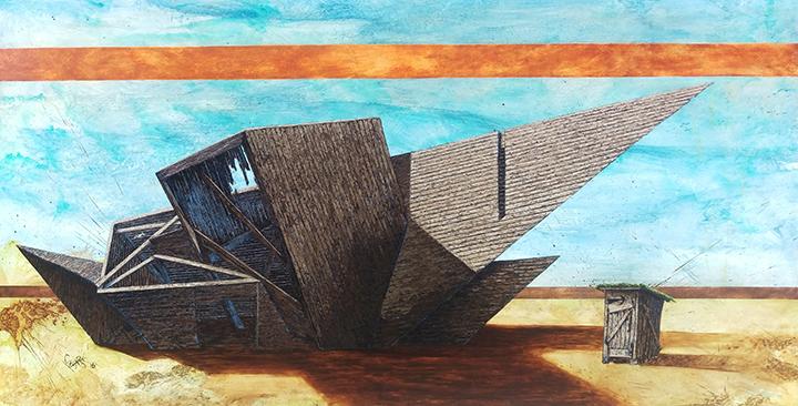 """The DAM Barn 45""""x 86"""" Oil on wood"""