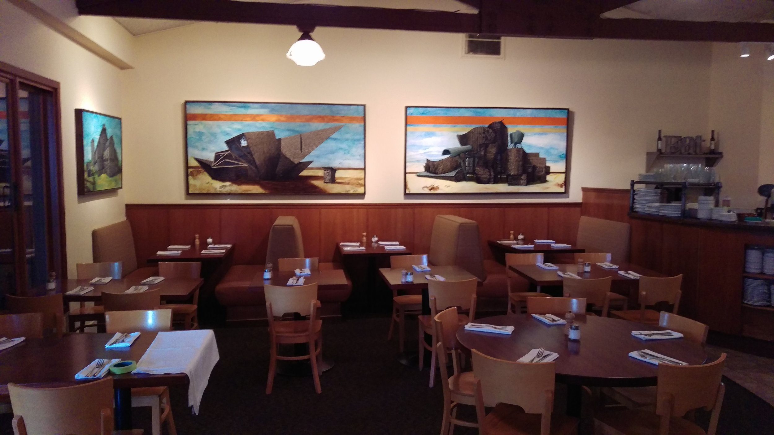 Deconstructivist Barnisms can be seen at Fume Bistro in Napa CA through the summer of 2017.