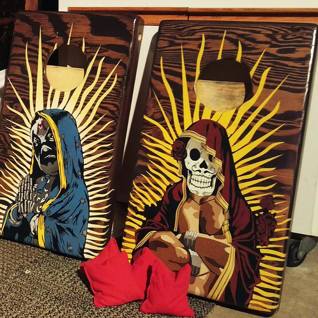 Mini Guadalupe set, Guadalupe de Mil Mascaras (left) Guadalupe de Las Calaveras (Right) SOLD