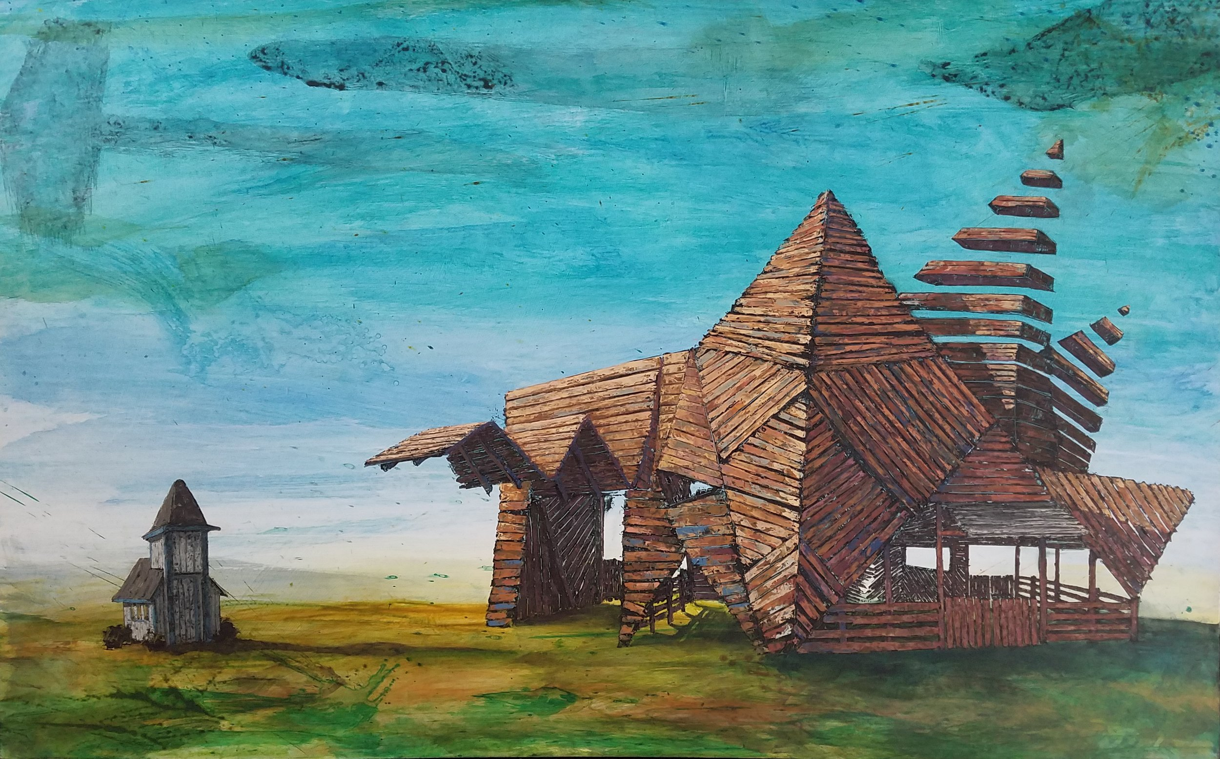 Mini Opera Barn 30 x 48 Oil and acrylic on wood