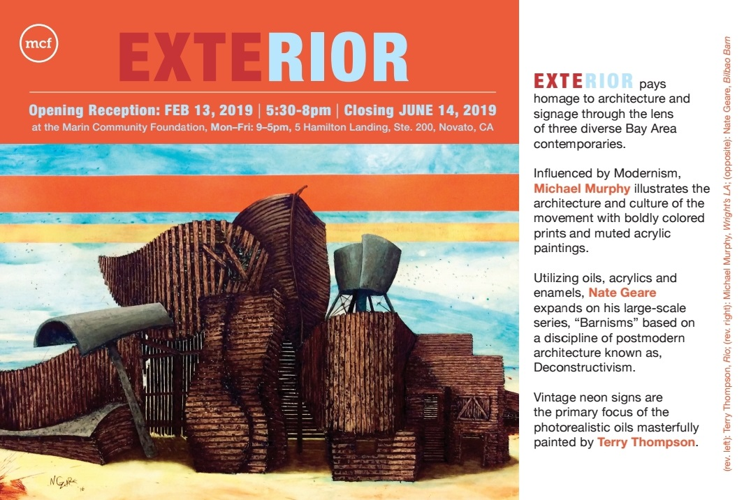 EXTERIOR, a three man show of work inspired by architecture, Opens Wed Feb 13, 2019 - June 14th at Hamilton Landing in Novato, CA. I've been working on this series for over two years! Other work by Terry Thompson and Michael Murphy is equally as impressive as my own series. Definitely worth checking out if can't make the opening night, be sure to go before June 14th