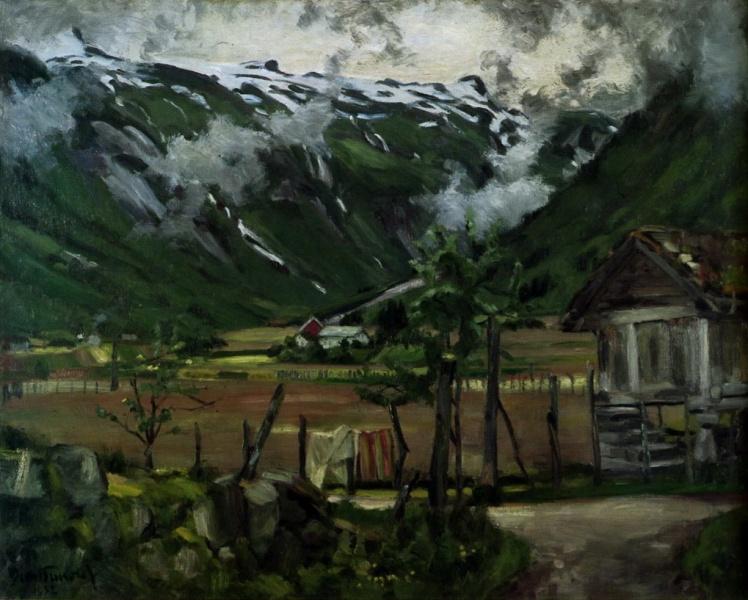 I 1932 måla Bernt Tunold dette motivet frå Mundal i Fjærland.