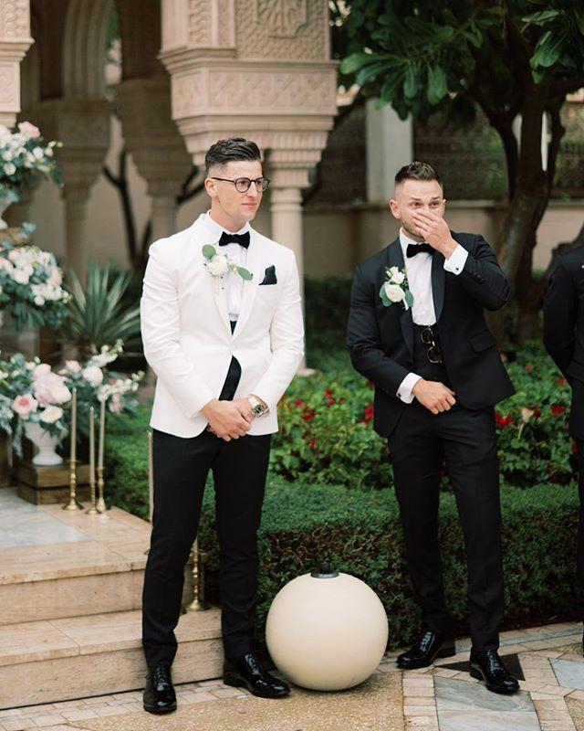 Jack's priceless reaction when he saw Sara walking down the aisle. #fineartwedding #oneandonlythepalm #groom #groomsuit #groomsmen