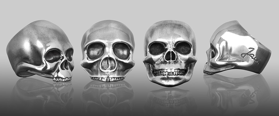 The full collection of silver skull rings