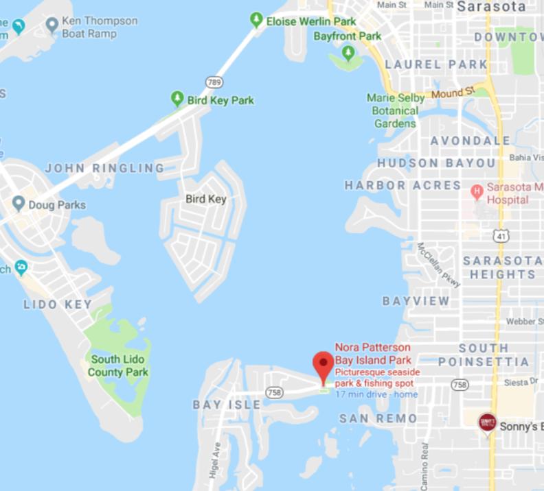 Bay Island Park, North Siesta Bridge - 946 SiestaDr.Sarasota, Fl 34234