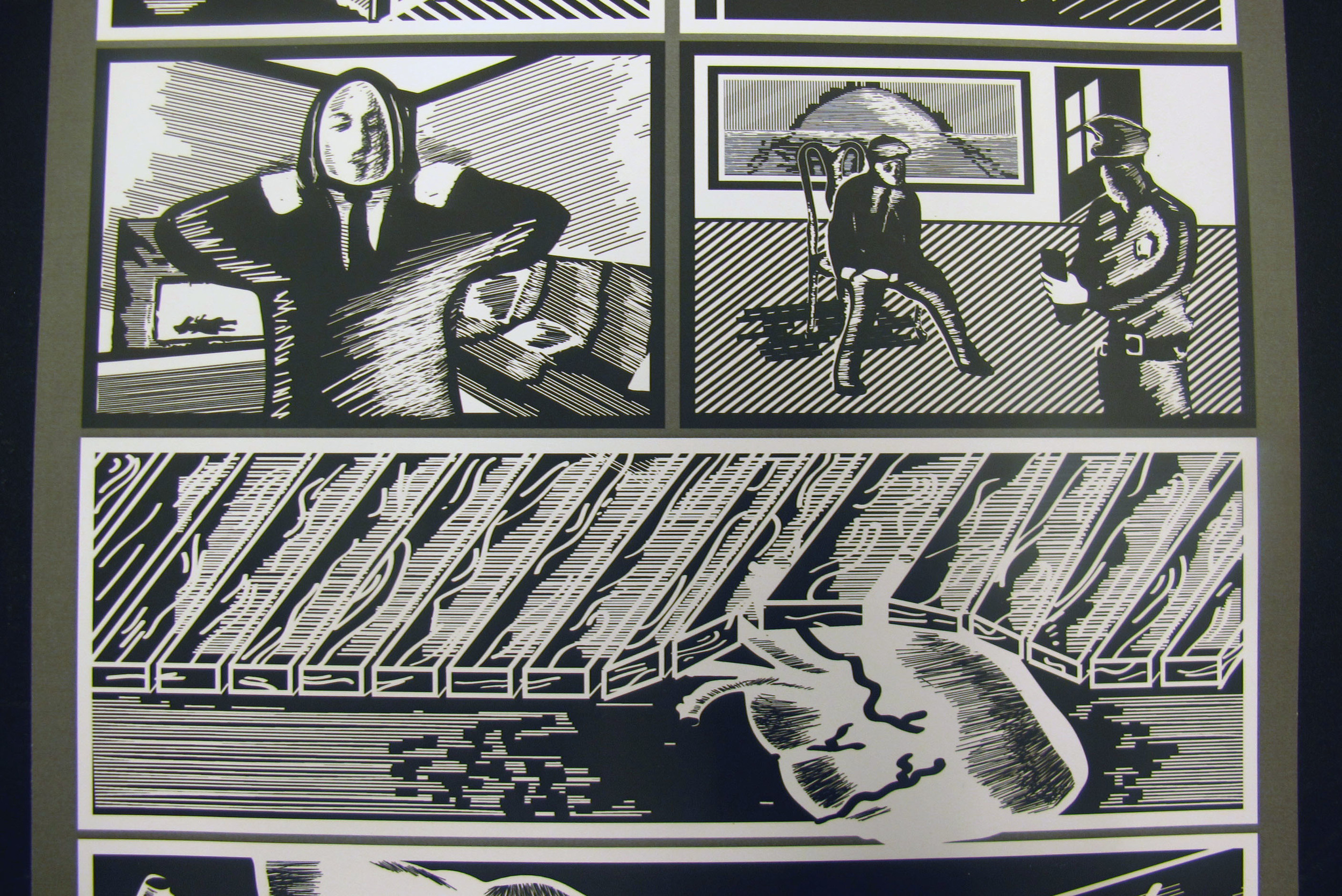 """Panels from Josh Cartwright's black and white storyboard of """"The Tell-Tale Heart."""""""