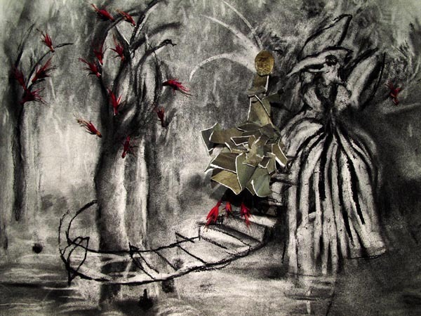 "A Staircase in the Woods , Drawing still from ""The Stained Glass Window"" animation, 2010 Charcoal on paper and mixed materials"