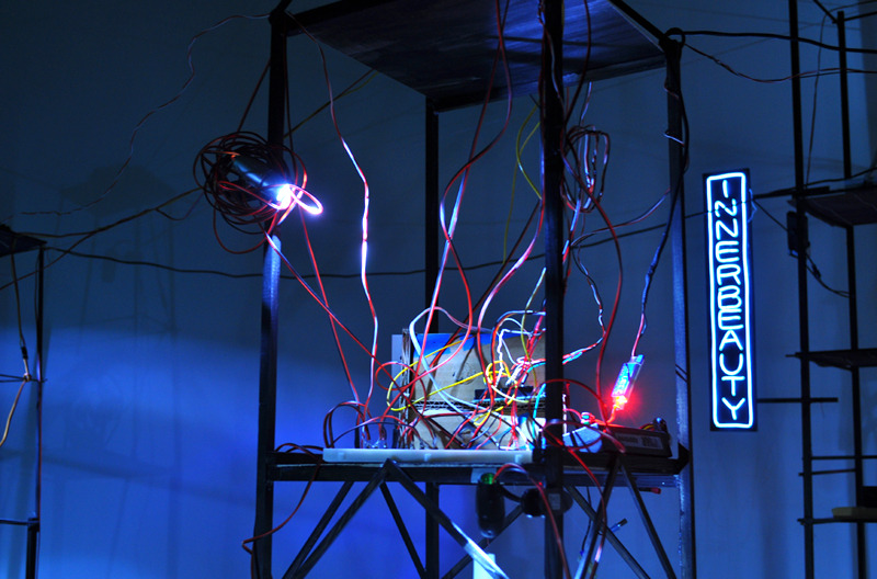 WONDERLUST  : Inner Beauty , 2012 Arduino, wires, lumber, cardboard, LED, and Electroluminescent Wire 12 x 9 x 9 inches