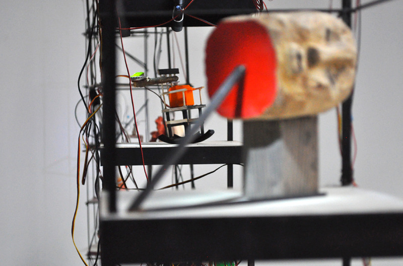 WONDERLUST: Support and Rock , 2012 Lumber, paint, found moss, stick, servo motor, and microcontroller 9 x 9 x 9 inches