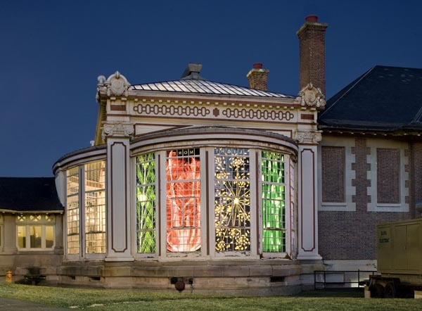Light, More Light , 2008 Duraclear, 5 Windows 13'x 4'each  Installation View, Vanderbilt Conservatory Oakdale, NY