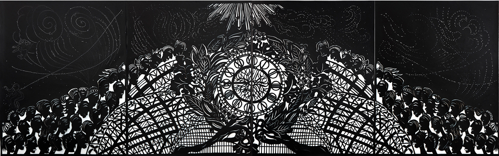 "Time Light Gate Clock,  2013  Original papercut works in lightboxes  54""x168"""