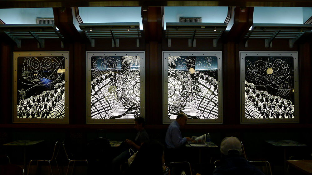 "Time Light Gate Clock,  2013  On Paper/Grand Central at 100, Installation View  Original papercut works in lightboxes  54""x42"""