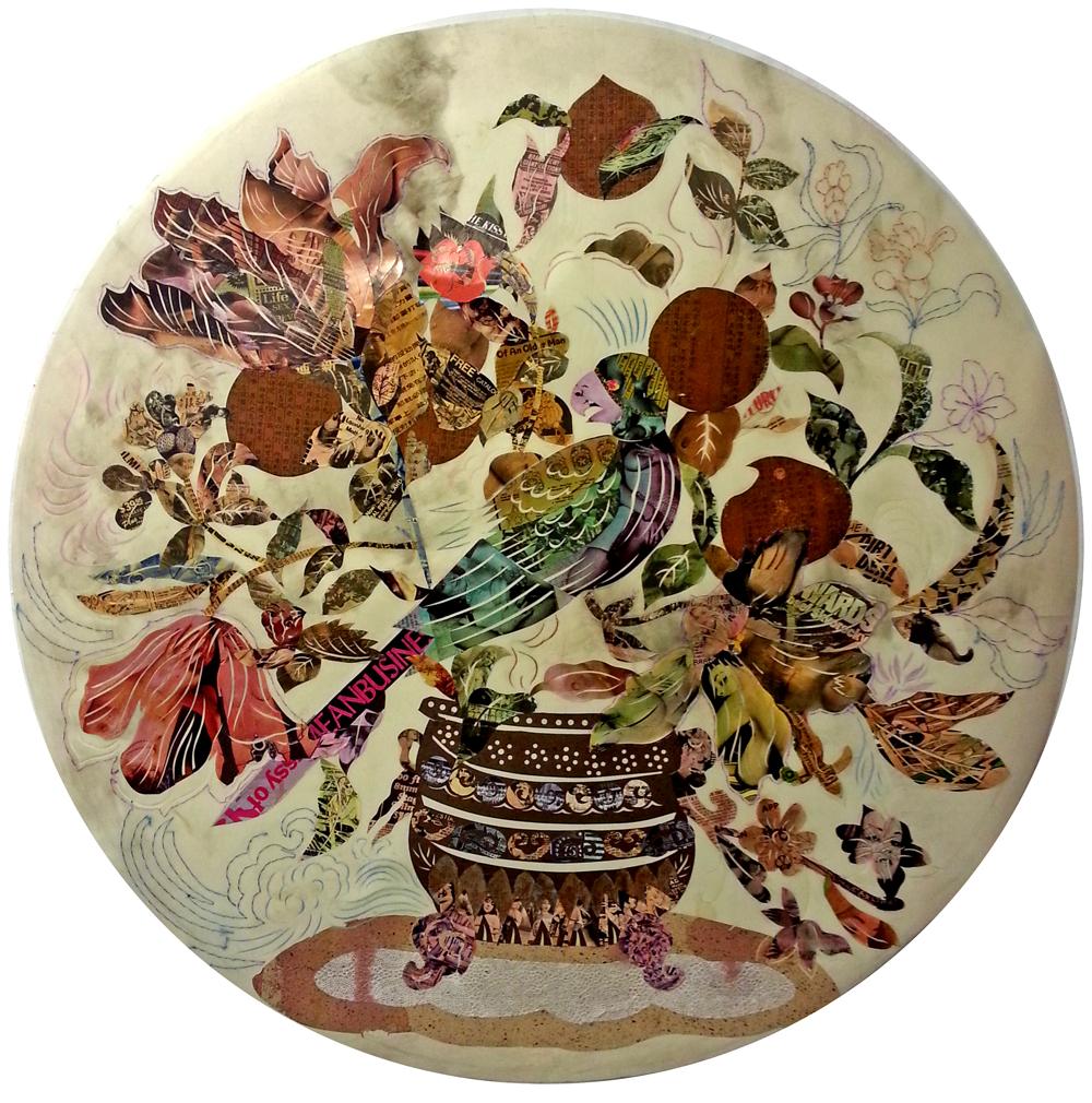 "Still life-Flower , 2014  Papercut on mylar  36""x36"""