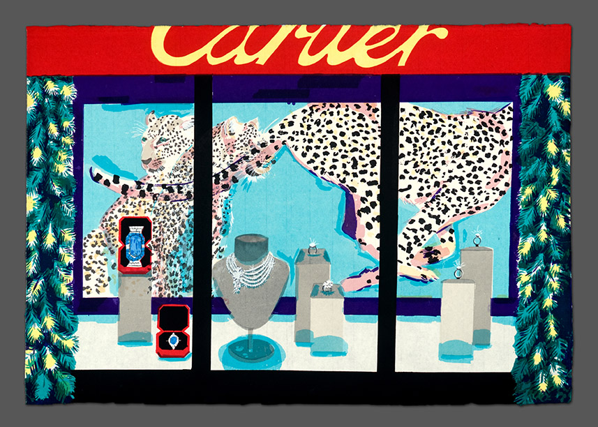 "Cartier Christmas Window , 2014  Screenprint on Japanese paper  25"" x 36""{C}"