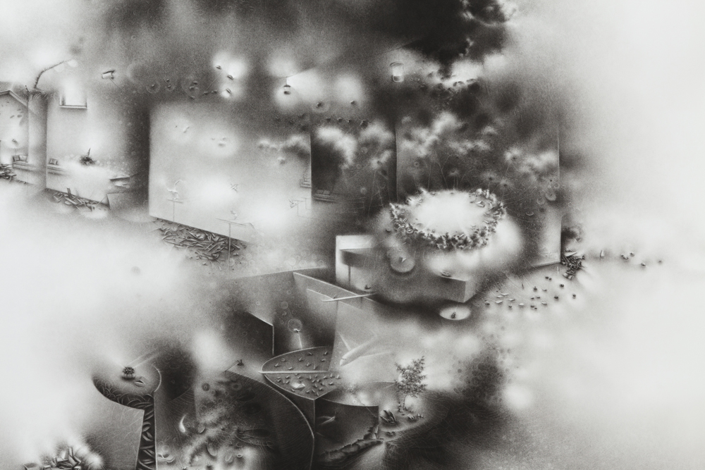 """The impossibility of keeping borders: a succession of becoming-times balances on the strata of an unrecoverable event, detail   49 ½"""" x 55 ½"""" x 2"""" 2011       charcoal on paper"""