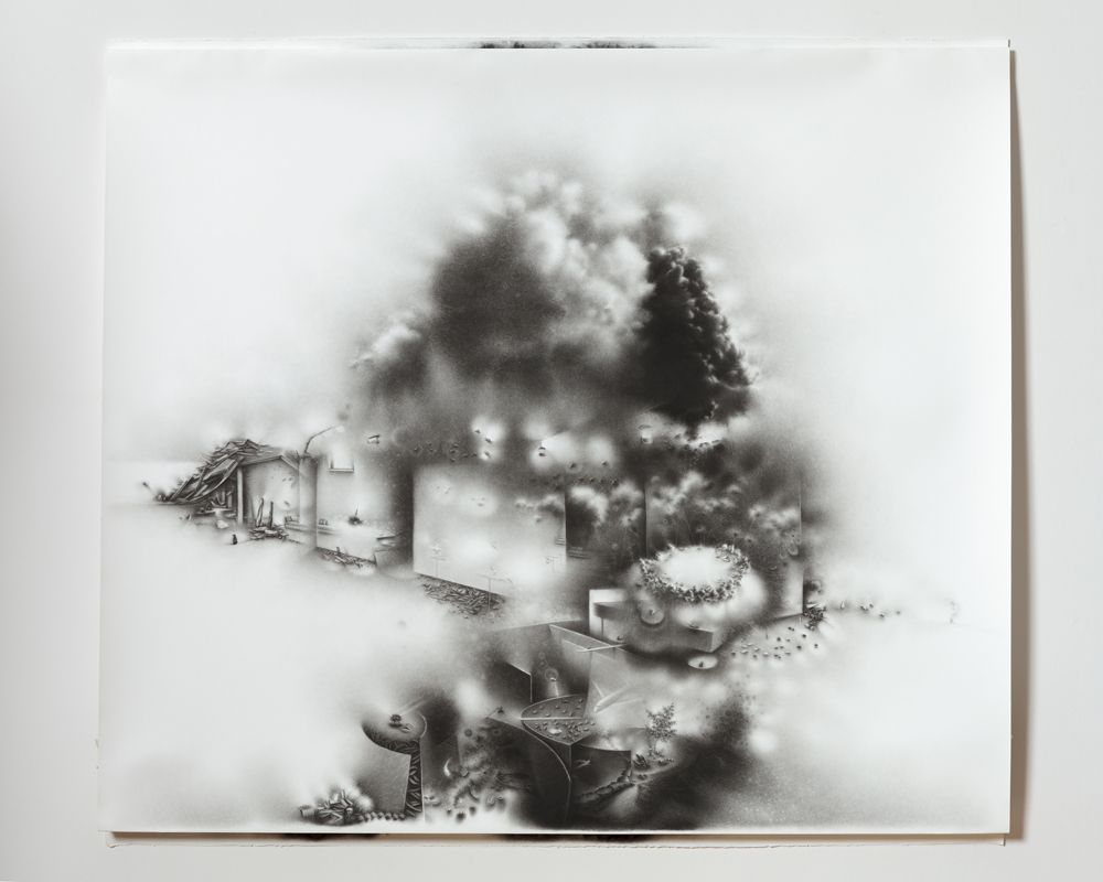 """The impossibility of keeping borders: a succession of becoming-times balances on the strata of an unrecoverable event.   49 ½"""" x 55 ½"""" x 2"""" 2011       charcoal on paper"""