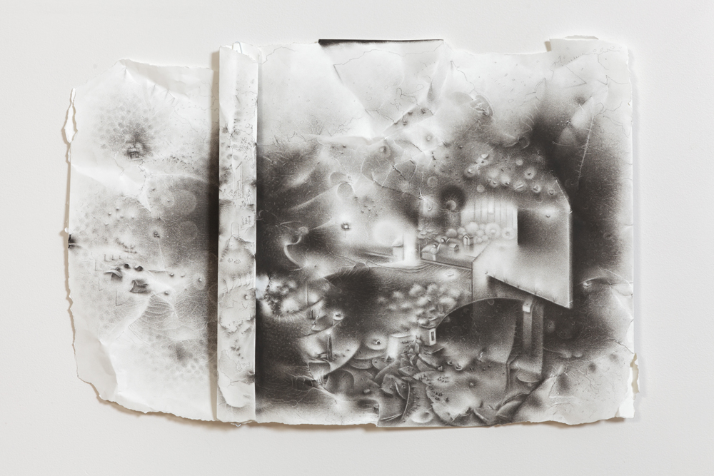 """The impossibility of keeping borders: a teeming network of things erupts from within the geological folds of a separation.   20"""" x 29"""" x 2""""  2012  charcoal on paper"""