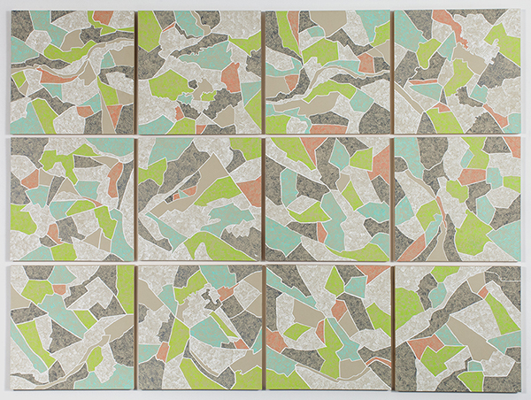 Grid 3,  2015 Gouache on paper mounted on panel, 12 – 16 x 16 inch panels, 49 x 66