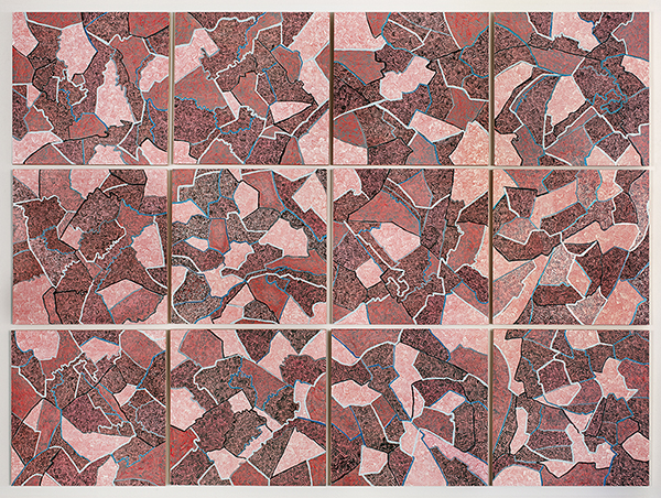 Grid 4,  2015 Gouache on paper mounted on panel, 12 – 16 x 16 inch panels, 49 x 66