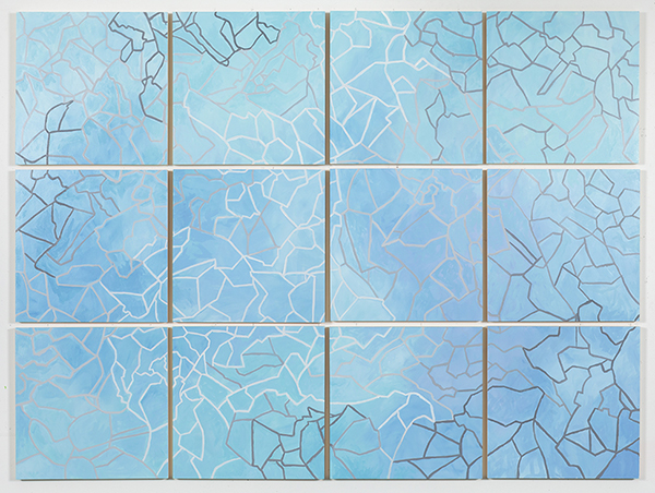 Grid 6,  2015 Oil on paper mounted on panel, 12 – 18 x 18 inch panels, 55 x 74