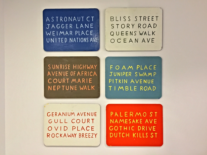 "William Allen  Queens' Street Names  Oil Enamel on Steel Street Signs 18"" x 24"" 2012"