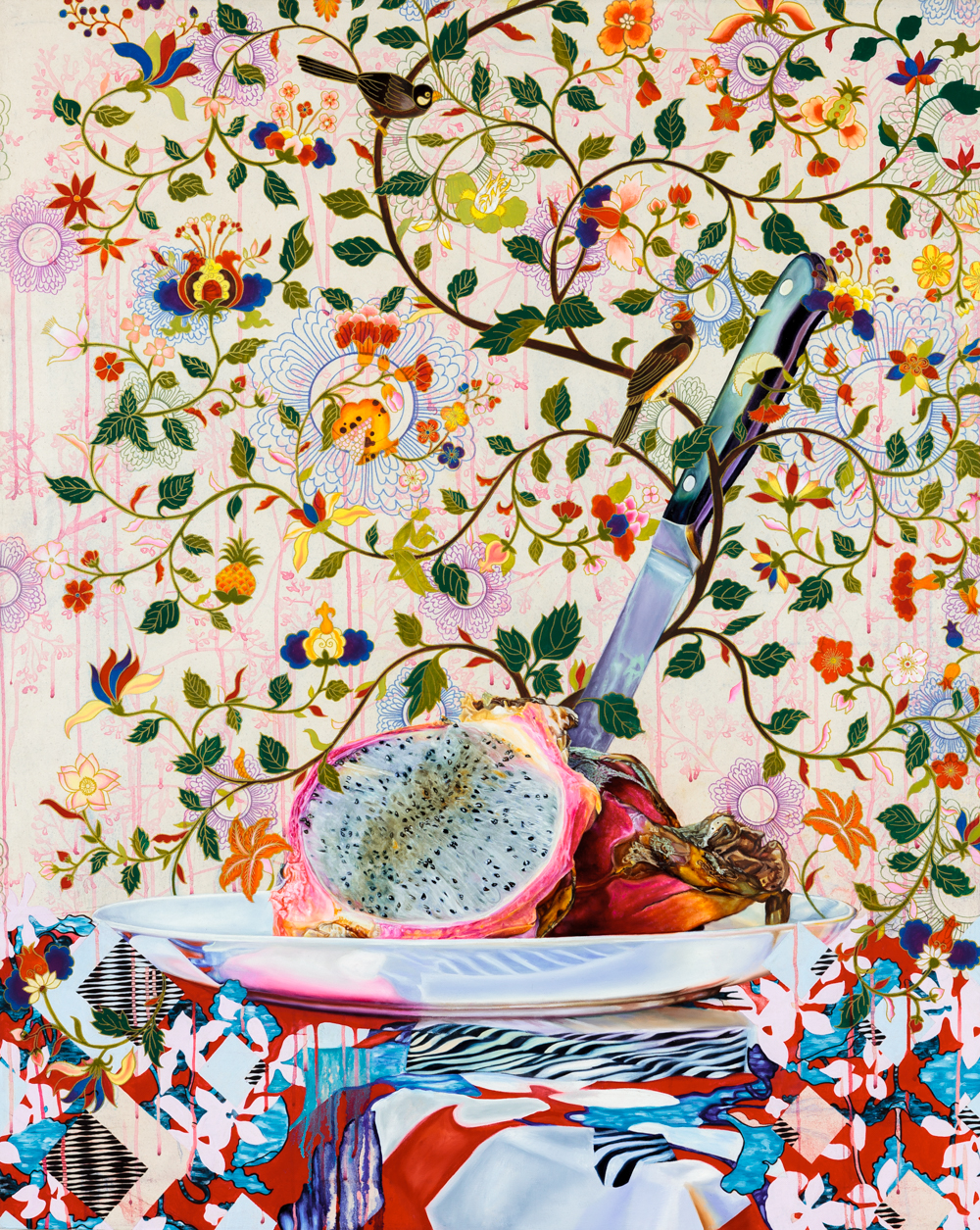 "Miss Havisham Invites You to Tea   Oil, flashe, acrylic ink & pigment pen on canvas  50"" x 40""  2015"