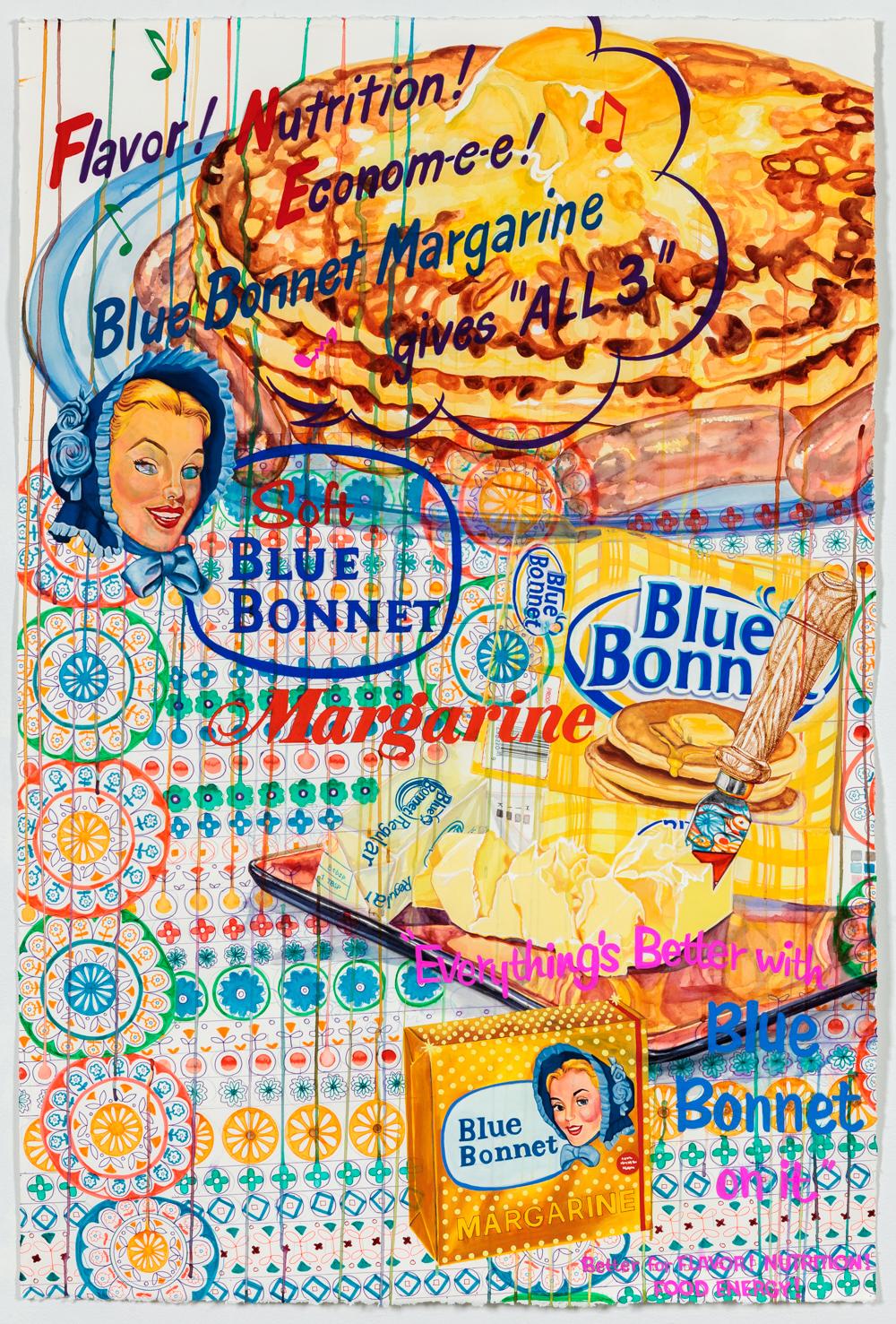"""Nebraska Suite No. 7: Blue Bonnet   Watercolor, pigment pen and gouache on paper  44"""" x 30""""  2015"""