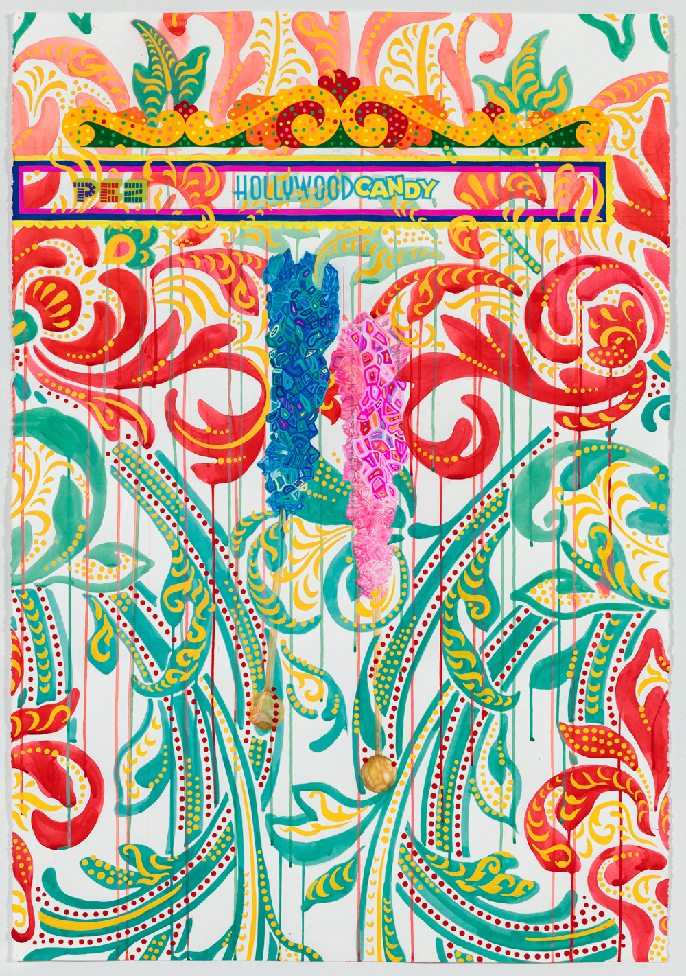 """Nebraska Suite No. 4: Hollywood Candy   Colored pencil, acrylic ink and gouache on paper  44"""" x 30""""  2015"""