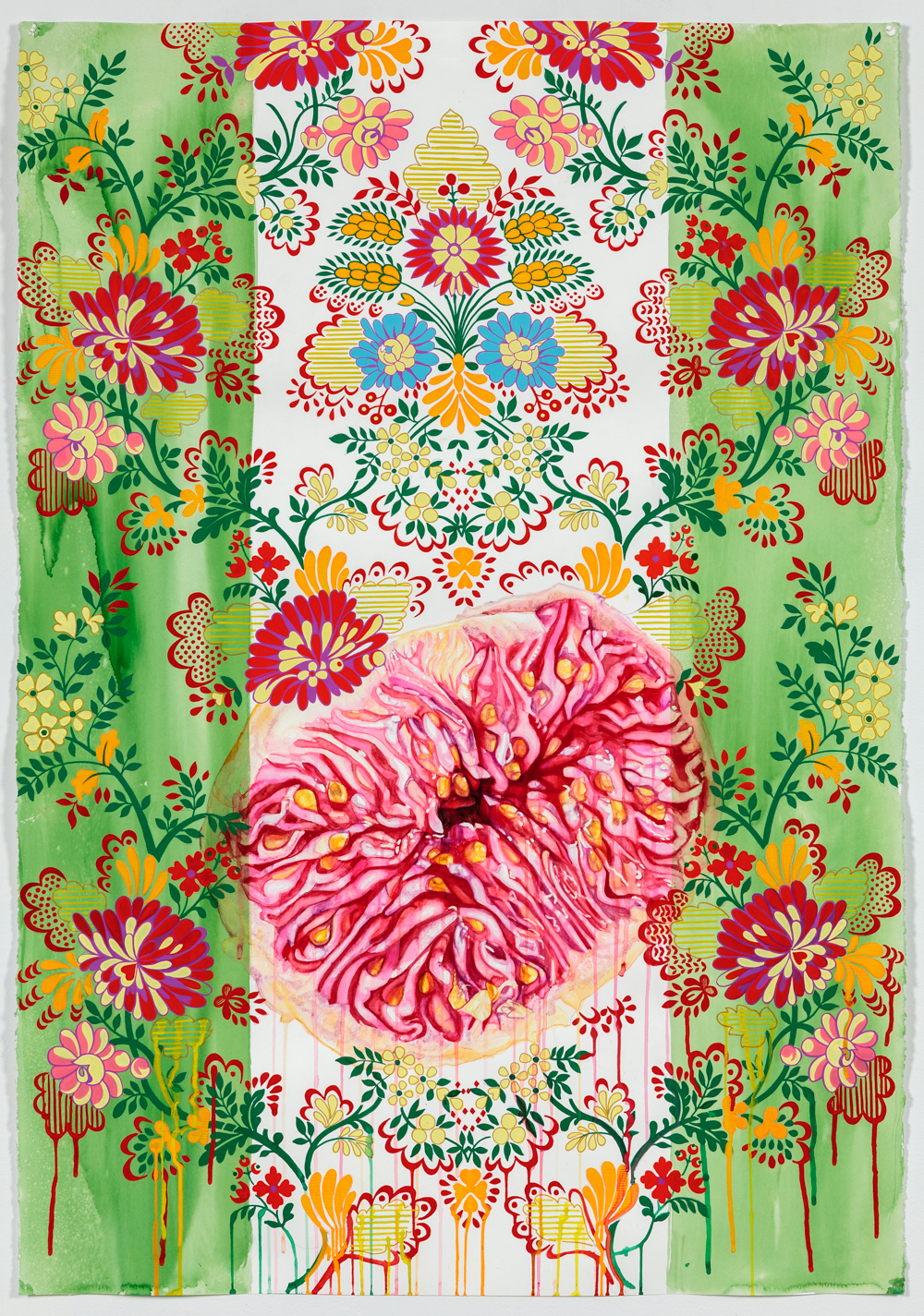 "Nebraska Suite No. 1: Half a Fig   Watercolor and gouache on paper  44"" x 30""  2014"