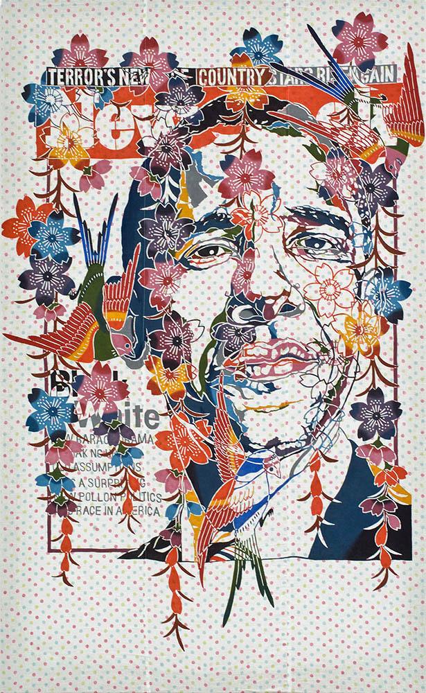 """Heroes - Obama,  2011 Bingata dye on linen ed of 3, 73"""" x 47"""""""