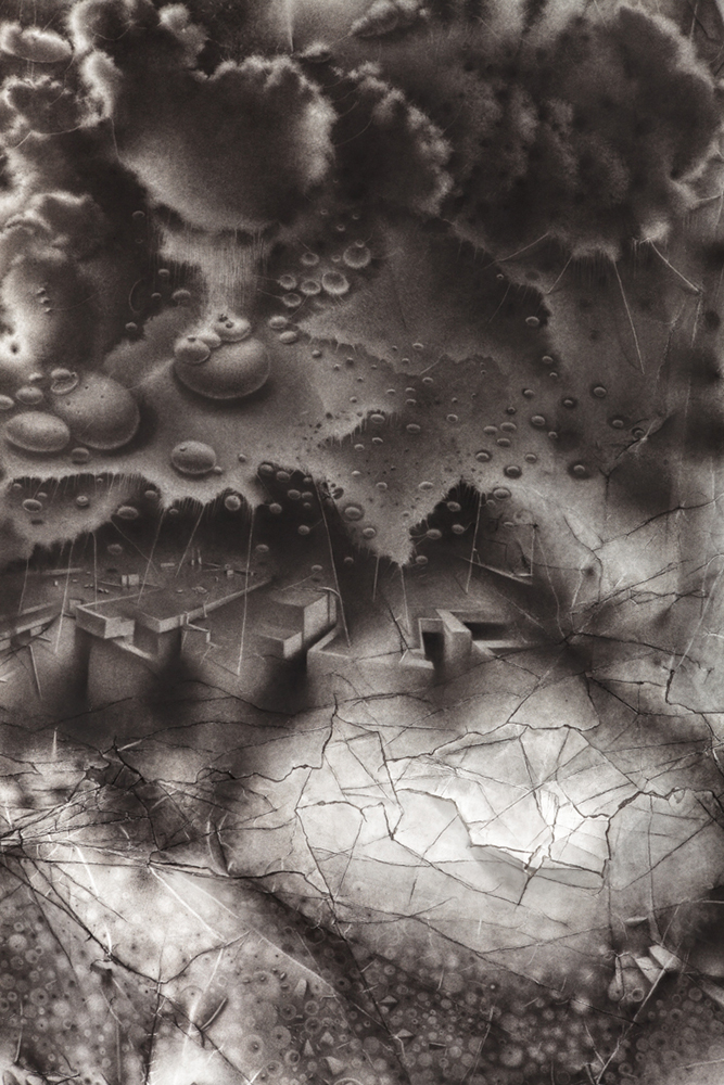 """An alternate geography: a generative void seeds itself upon an overlooked location.   72"""" x 45"""" x 3""""   2014  charcoal on paper"""