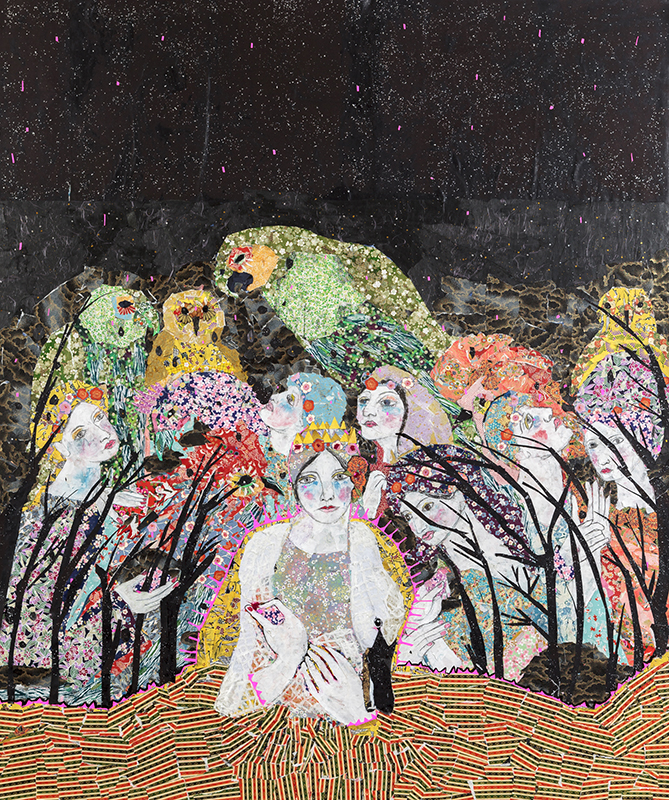 """Maria Berrio The Marriage of Life & Death Mixed media on canvas 80"""" x 72"""" 2014"""