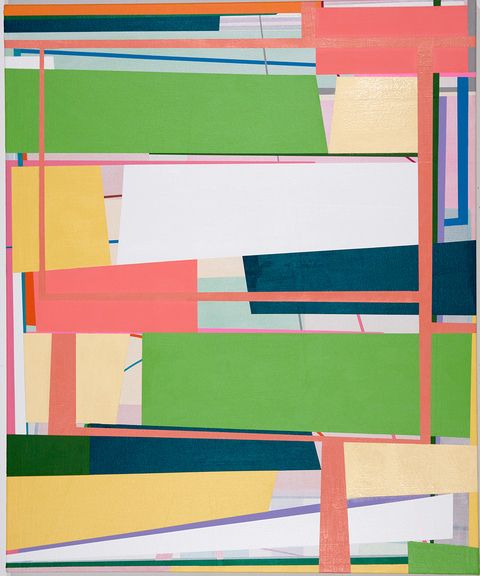 """Gary Peterson Untitled Acrylic and house paint on sheetrock 120.5"""" x 113"""" 2014"""