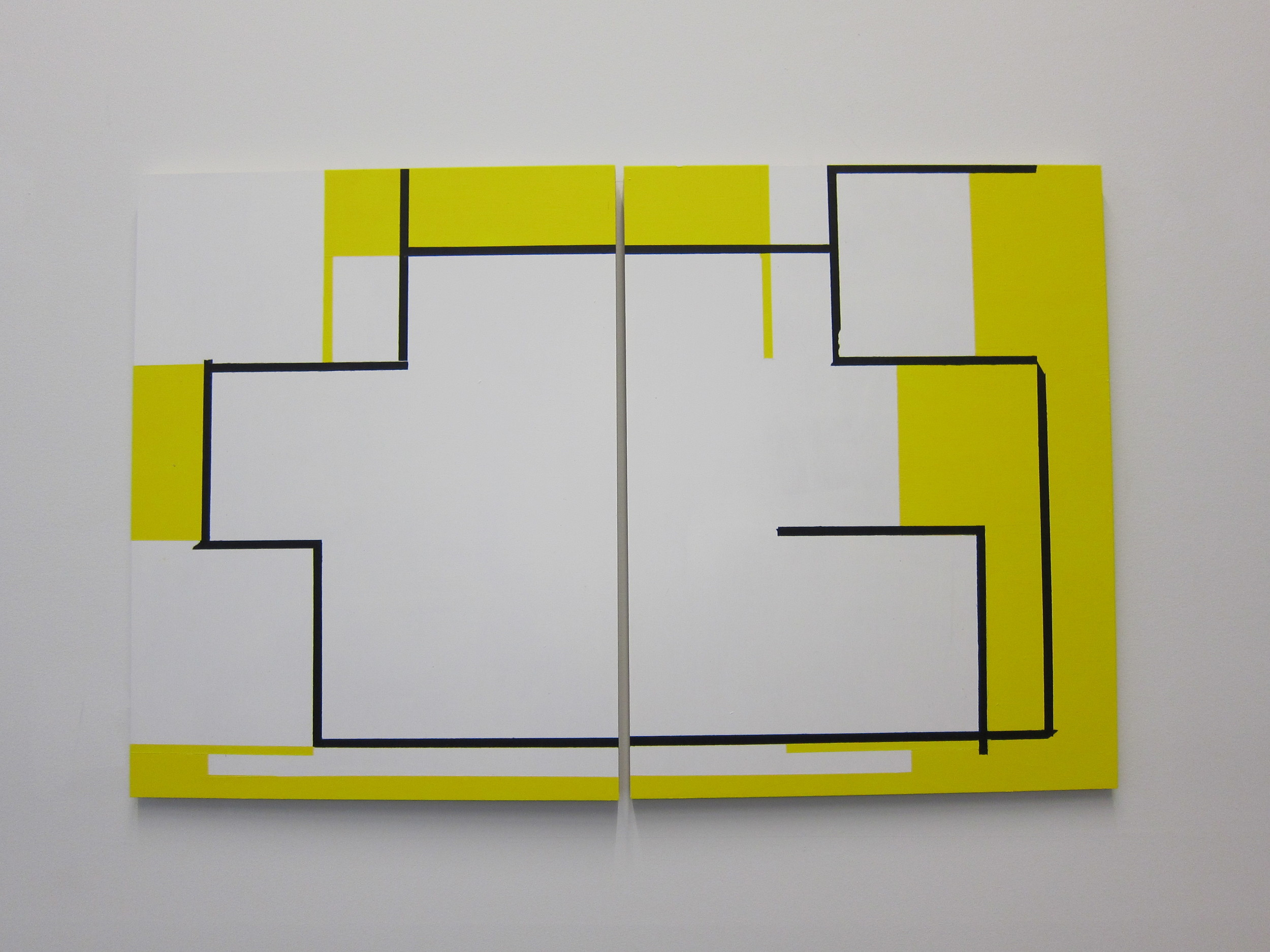 Marjorie Welish Indecidability of the Sign: Frame 28 2011 Acrylic on Panel  18x28 inches (two panels)