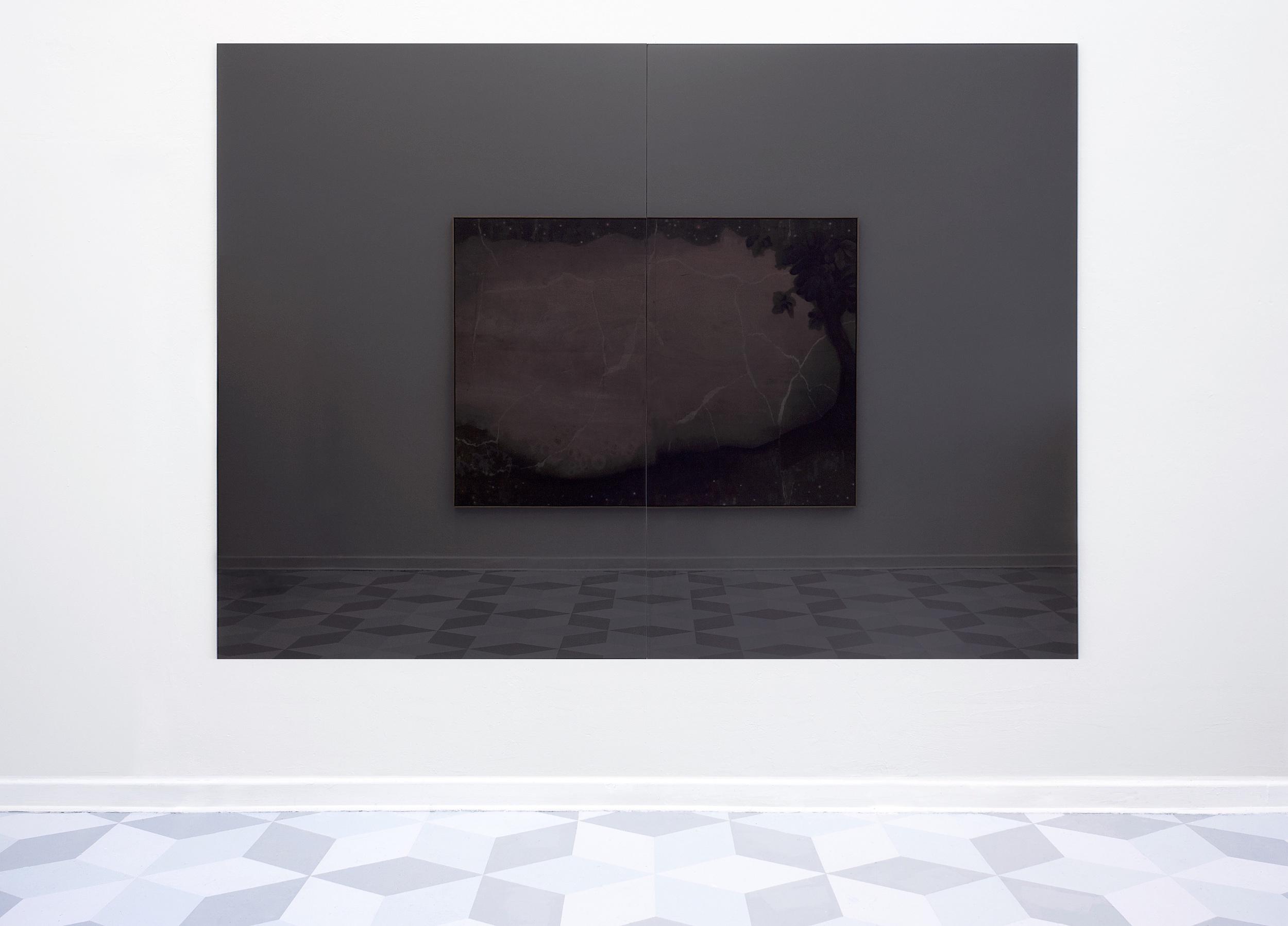 """Von Neuerwachten Welten, 2012 Glass, Acrylic 85.4"""" x 118"""" (installation detail, mirroring a UV-print on wood)"""
