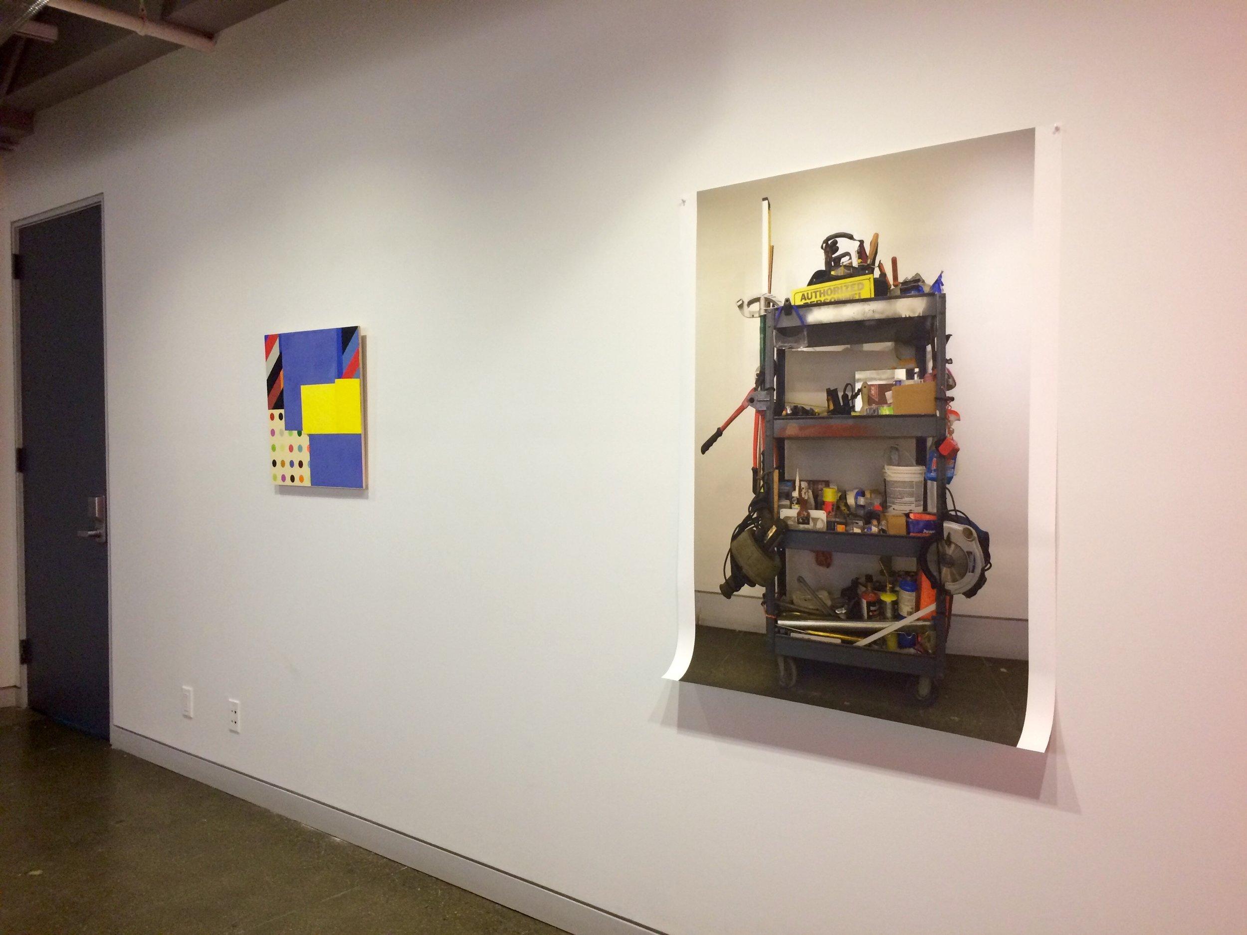 Jason Stewart (L) & Alex Credle (R)   Jason Stewart  Reconstruct #107  Fabric and Acrylic on Panel 2016  Alex Credle  Time Waits for No One  Digital Print 2017