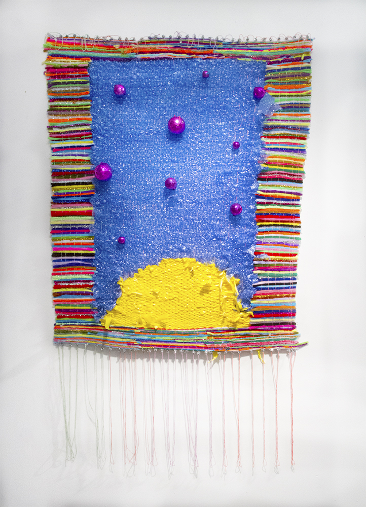 "Plastic sunset, 2017  Hand-woven textile using bubble wrap, plastic flagging tape, strings, pipe cleaners and beads.  60"" x 34"""
