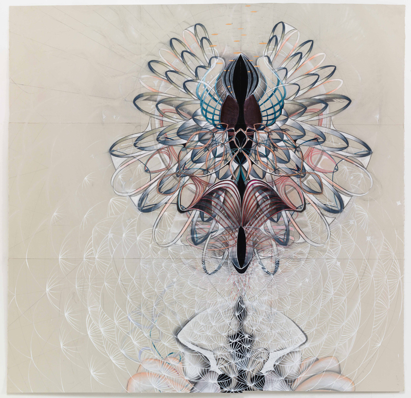 Spin Zero , 2015, graphite, gouache, and pastel on paper, 70 x 62""