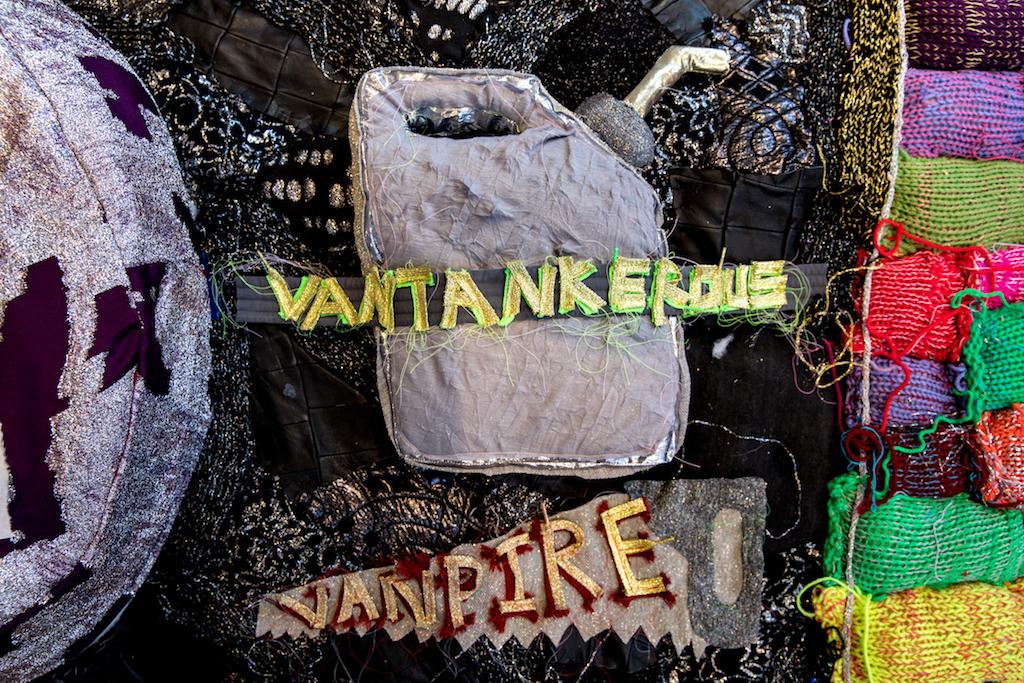 VanDykesTransDykesTransVanTransGrandmxDykesTransAmDentalDamDamn  (detail), 2017, machine knit yarn, sholelaces, leather, LEDs, poly-fil, recycled bike inner tubes, thread, lurex, lace, assorted fabrics, metal studs, 15 x 20ft